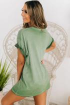 Πράσινο μίνι φόρεμα με κοντό μανίκι
