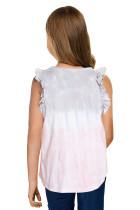 Wielokolorowy podkoszulek Tie-dye z falbankami Little Girl
