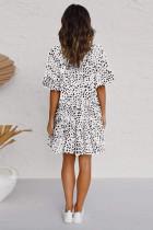 Λευκό Leopard V Neck με ανατομικό μίνι φόρεμα με κουμπιά