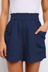 กางเกงขาสั้นเอวลอยแบบลำลองสีน้ำเงิน Paperbag พร้อมกระเป๋า