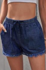 กางเกงขาสั้นเดนิมทรงหลวมกระเป๋าสีน้ำเงินเข้ม