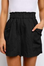 กางเกงขาสั้นเอวบานสีดำ Paperbag พร้อมกระเป๋า
