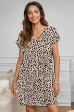 Mini abito con tasche con stampa ghepardo cachi