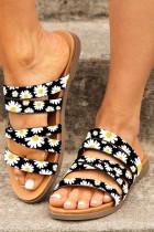 รองเท้าแตะส้นแบน Black Sunflower