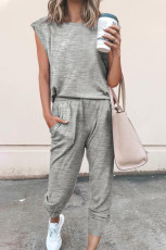 Gray Casual Knitted Sleeveless and Pants Set