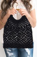 黒ボヘミアン織りかぎ針編みのハンドバッグ