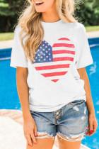 Λευκή αμερικανική σημαία Καρδιά εκτύπωση γραφικό μπλουζάκι