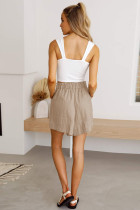 Khaki Paperbag Waist Flare Casual Shorts with Pockets