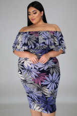 Purple Leaves Print Off Shoulder Ruffle Plus Size Midi Dress