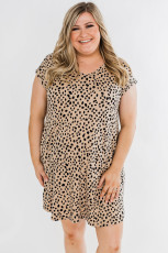 Khaki  Wild Spotted Plus Size Mini Dress