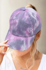 หมวกเบสบอลหางม้ามัดย้อมสีม่วง