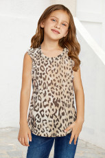 Leopard Ruffled Little Girl Tank