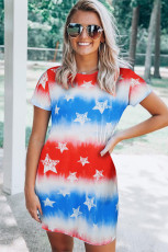 Tie Dye Πατριωτικό Κόκκινο Λευκό Μπλε Αστέρι με Μίνι Φόρεμα