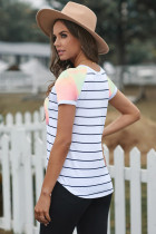 Striped Tie-dye Pocketed Patch Tee