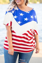 Plus Size Flag Pattern Tee