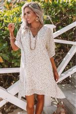 Λευκό Loose Fit V Neck Leopard Print Shift Μίνι φόρεμα