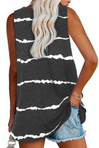 Black Tie-dye Stripes Tank Top