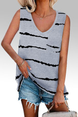 Gray Tie-dye Stripes Tank Top