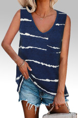 Blue Tie-dye Stripes Tank Top