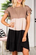 Khaki Ruffled Κοντό μανίκι Colorblock Mini Dress