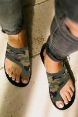 รองเท้าแตะระบายอากาศแบบถัก Fly Knit แบบยืดส้นแบน Camo
