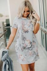 فستان قصير بأكمام قصيرة متعدد الألوان