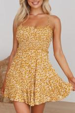 فستان زهري مكشكش بأشرطة سباغيتي أصفر