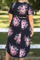 Plus Size Asymetryczna sukienka midi z dekoltem V w kwiaty