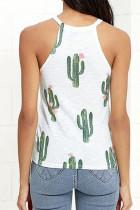 Biały top bez rękawów z okrągłym dekoltem w kaktusy