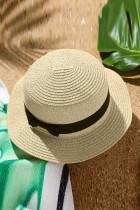 Beżowy słomkowy kapelusz z kokardą