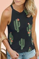 Czarny podkoszulek z dekoltem w kształcie kaktusa