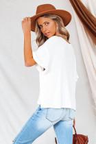 Termiczna dzianinowa bluzka z krótkimi rękawami w kolorze białym