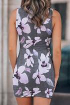 Mini vestido com estampa floral oco Wrap Tie