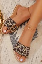 รองเท้าแตะส้นแบนลายเสือดาว
