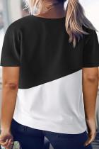 Sort Crew Neck Colorblock Plusstørrelse T-shirt