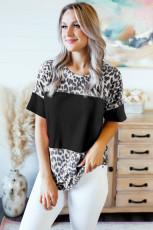 เสื้อยืดพิมพ์ลายเสือดาวสีดำดุดัน