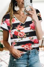 Floral V-hals Colorblock T-shirt