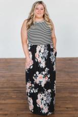 Φόρεμα Maxi Floral & Stripes Plus Size
