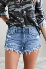 Blue Raw Hem Distressed Washed Denim Shorts