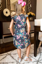 Floral φόρεμα με μανίκια με γκρι φούστα και τσέπες