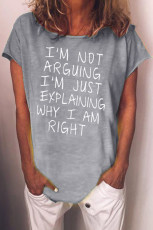 Casual Loose Letters Print Grå T-shirt
