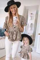 Leopard Button Front Ruffled Family Matching Παιδικό πουκάμισο