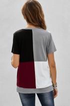 Vinrød Colorblock T-shirt med slidser