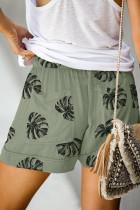 Πράσινο Floral Print κορδόνι κορδόνι Casual ελαστική μέση με τσέπες