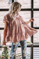 Dusty Pink Polka Dot Babydoll Style Flutter Sleeve Top