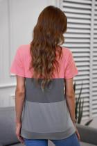 Grå kontrast Colorblock T-shirt