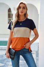 Orange Contrast Colorblock T-shirt