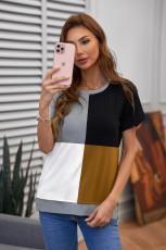 Brun Colorblock T-shirt med slidser