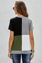 Army Green Colorblock T-shirt med slidser
