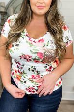 Κοντομάνικο μπλουζάκι με τσέπες και μέγεθος Floral τσέπη